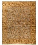 RugStudio presents Due Process Kashmir Kashan Light Blue-Gold Hand-Knotted, Best Quality Area Rug